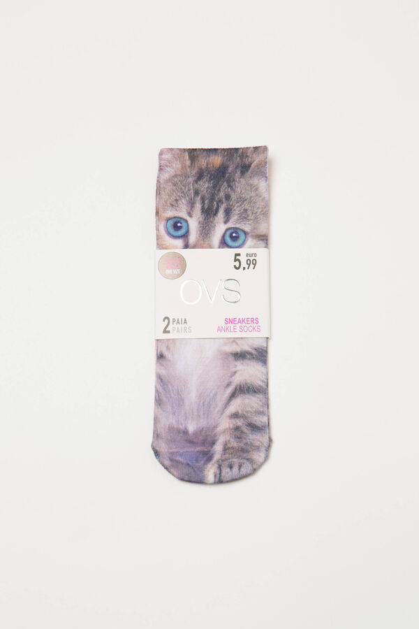 Two-pair pack stretch socks with print | OVS