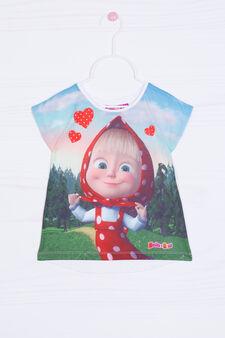 T-shirt stretch stampa Masha e Orso, Multicolor, hi-res