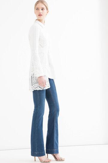 Solid colour openwork cardigan, White, hi-res