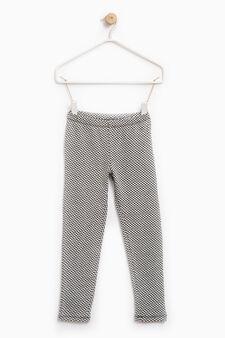 Leggings cotone stretch fantasia, Nero/Bianco, hi-res