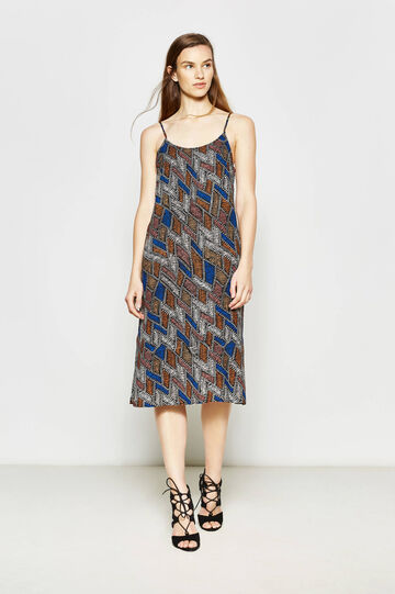 Longuette dress in patterned viscose