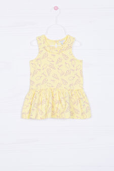 Stretch patterned dress, Yellow, hi-res