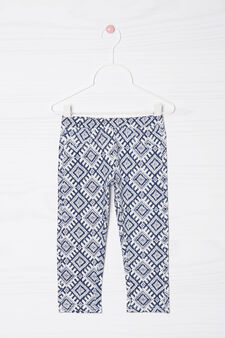 Printed stretch cotton leggings, Blue, hi-res
