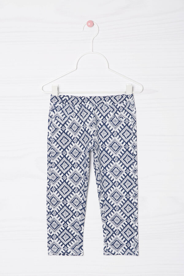 Printed stretch cotton leggings | OVS