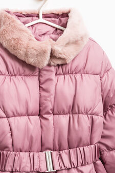 Down jacket with fur and belt, Pink, hi-res