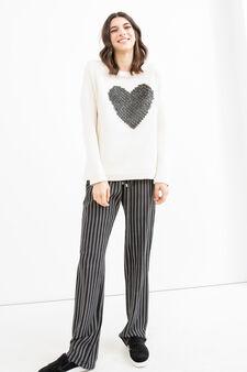 100% cotton sweatshirt with studs, Cream, hi-res
