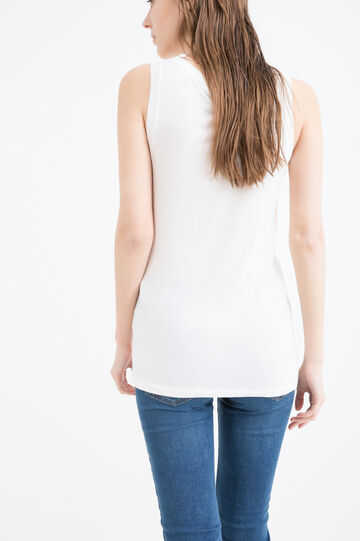 100% viscose top with buttons at neckline, Milky White, hi-res