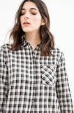 Check patterned short shirt in cotton and viscose, Black/White, hi-res