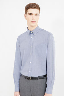 Regular-fit micro-check formal shirt, Blue, hi-res