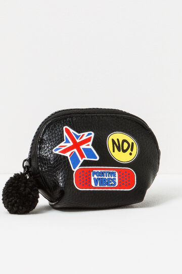 Coin purse with pompom, Black, hi-res