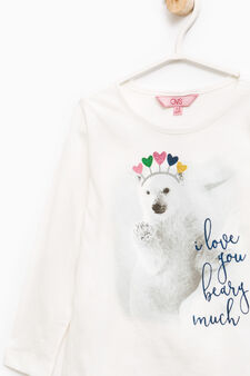 Cotton T-shirt with maxi print, Off-white, hi-res
