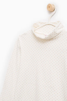 Patterned stretch cotton turtleneck jumper, White, hi-res