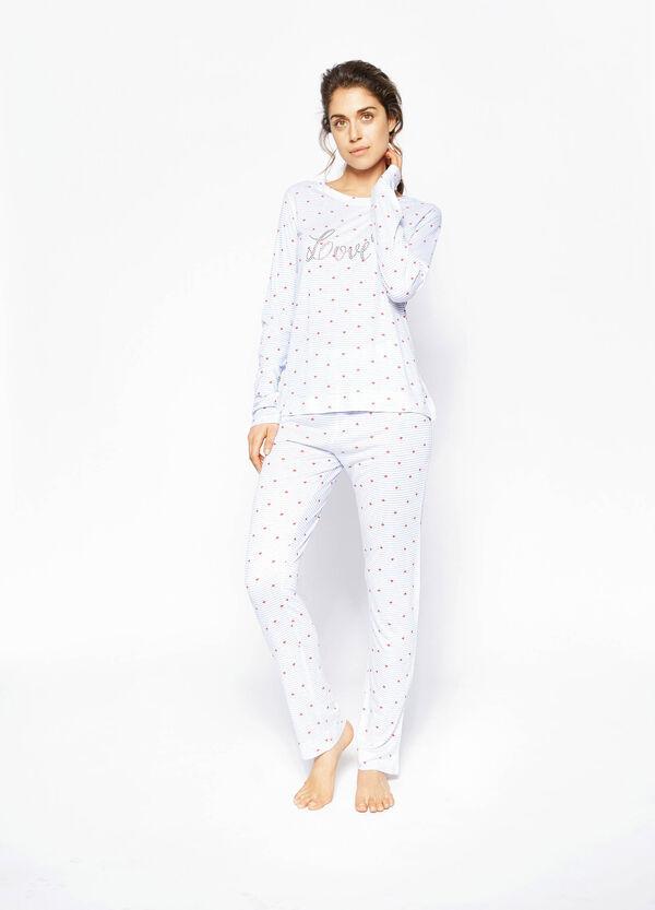 Pijama de viscosa con fantasía y strass | OVS