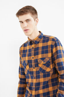 G&H check shirt in 100% cotton, Blue/Brown, hi-res