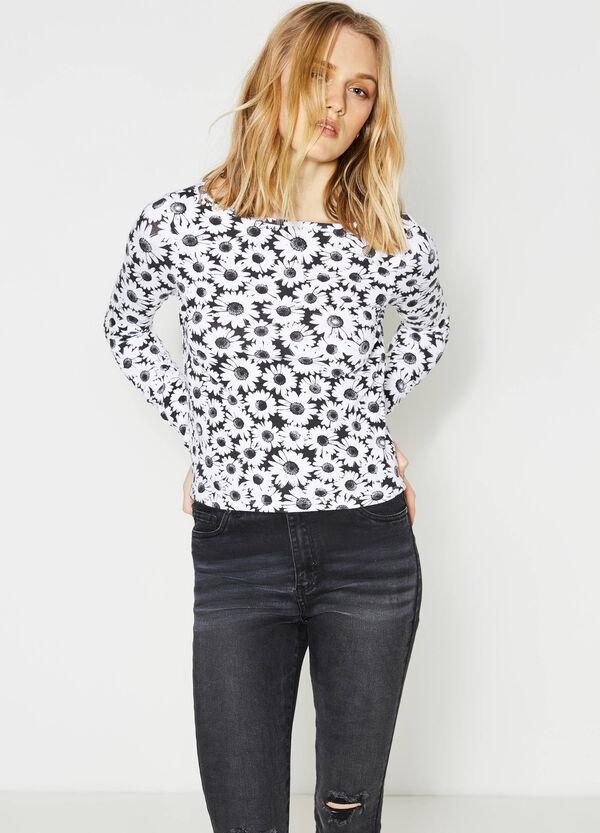 Camiseta corta en algodón elástico con fantasía | OVS