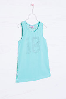 Stretch cotton top with diamantés, Light Blue, hi-res