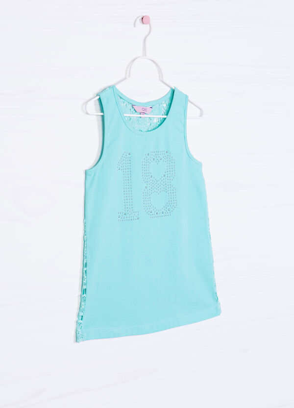 Stretch cotton top with diamantés | OVS