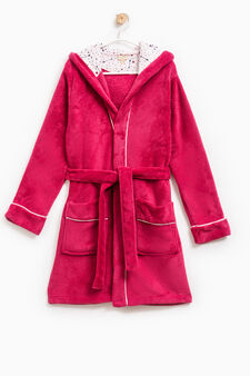 Dressing gown with hood, Fuchsia, hi-res