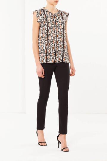 Patterned blouse, Black, hi-res