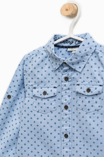 Patterned shirt in 100% cotton, White/Light Blue, hi-res