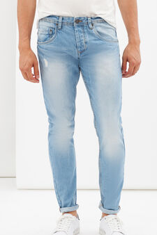 Used effect ripped jeans, Medium Wash, hi-res