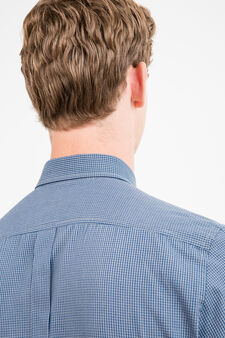 Slim-fit micro-check casual shirt, Blue/Grey, hi-res