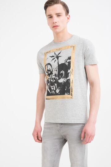 T-shirt in puro cotone con stampa, Grigio, hi-res