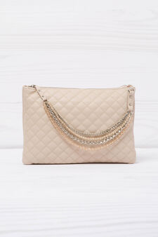 Solid colour quilted clutch., Pink, hi-res