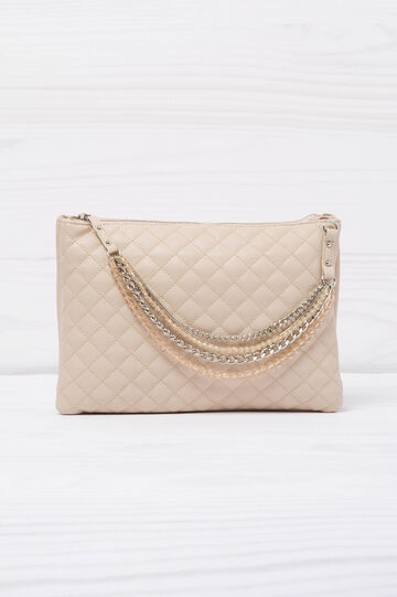 Solid colour quilted clutch.