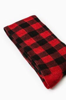 Stretch cotton check-patterned long socks, Black, hi-res