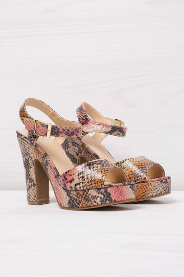 Snakeskin sandals with heel, Multicolour, hi-res