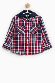 Camicia con cappuccio fantasia tartan, Blu/rosso, hi-res