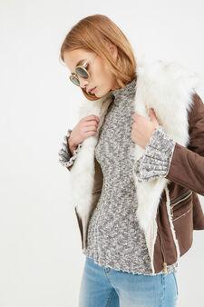 Suede jacket with faux fur, Brown, hi-res