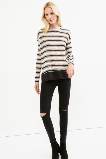 Viscose and lurex sweatshirt with striped pattern, Black, hi-res