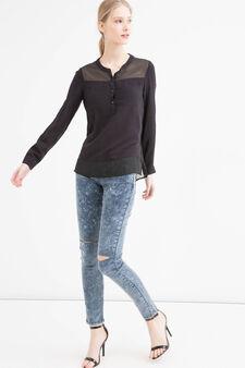 Jeans skinny fit con strappi, Blu, hi-res