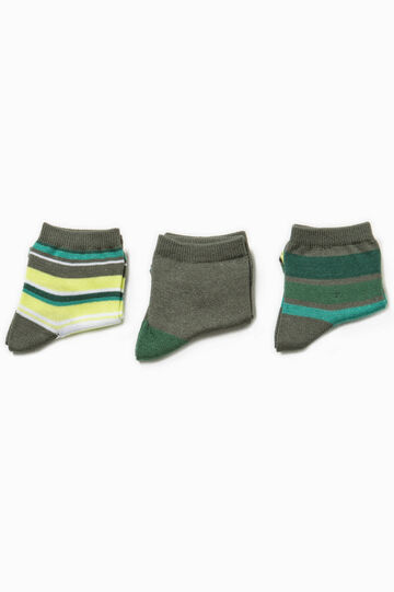 Three-pair pack short solid colour and striped socks, Army Green, hi-res