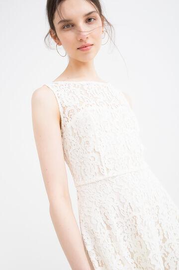 Solid colour cotton blend dress, Cream White, hi-res