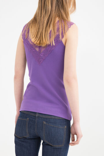 100% cotton top with lace, Purple, hi-res