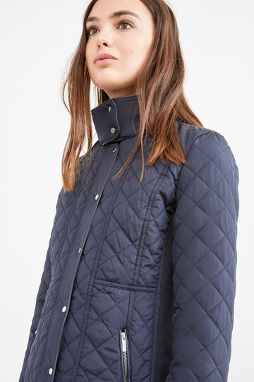 Down jacket with high collar and pull-out hood, Navy Blue, hi-res
