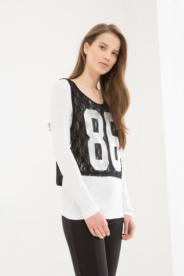 T-shirt sportiva con top pizzo, Nero/Bianco, hi-res