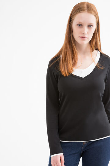 Curvy faux layered T-shirt in cotton