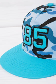 Patterned cotton baseball cap, Blue, hi-res