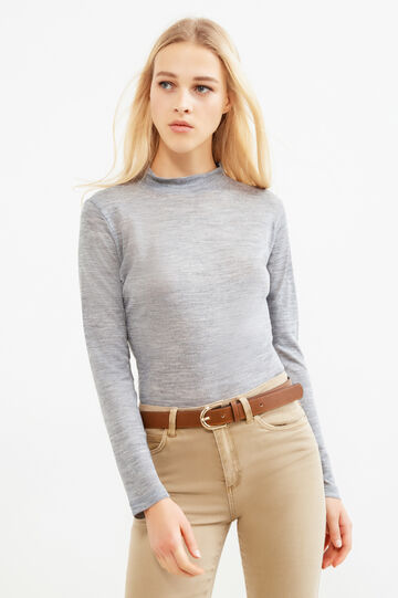 Solid colour wool blend turtleneck jumper, Grey, hi-res
