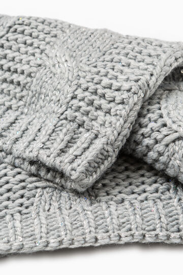 Cable knit scarf, Grey Marl, hi-res