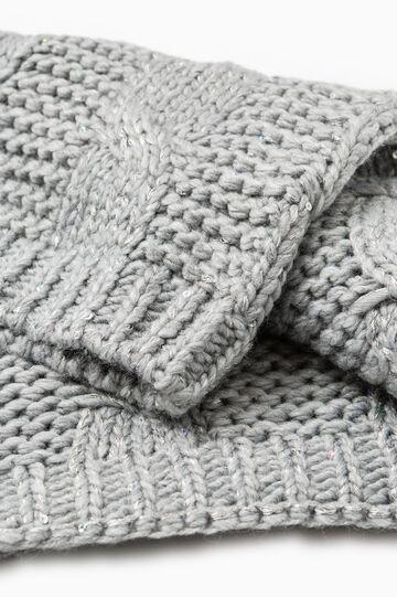 Sciarpa lavorata tricot a trecce, Grigio melange, hi-res