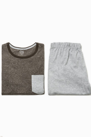 Cotton pyjamas with pocket, Khaki, hi-res