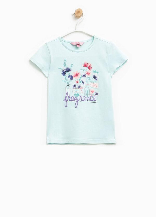 Camiseta con estampado con purpurina y strass | OVS
