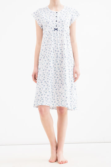 Camicia da notte fantasia floreale, Bianco/Blu, hi-res