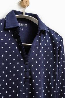 Smart Basic polka dot polo shirt, Black/Blue, hi-res