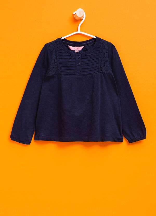 Long-sleeved T-shirt with heart-shaped buttons | OVS